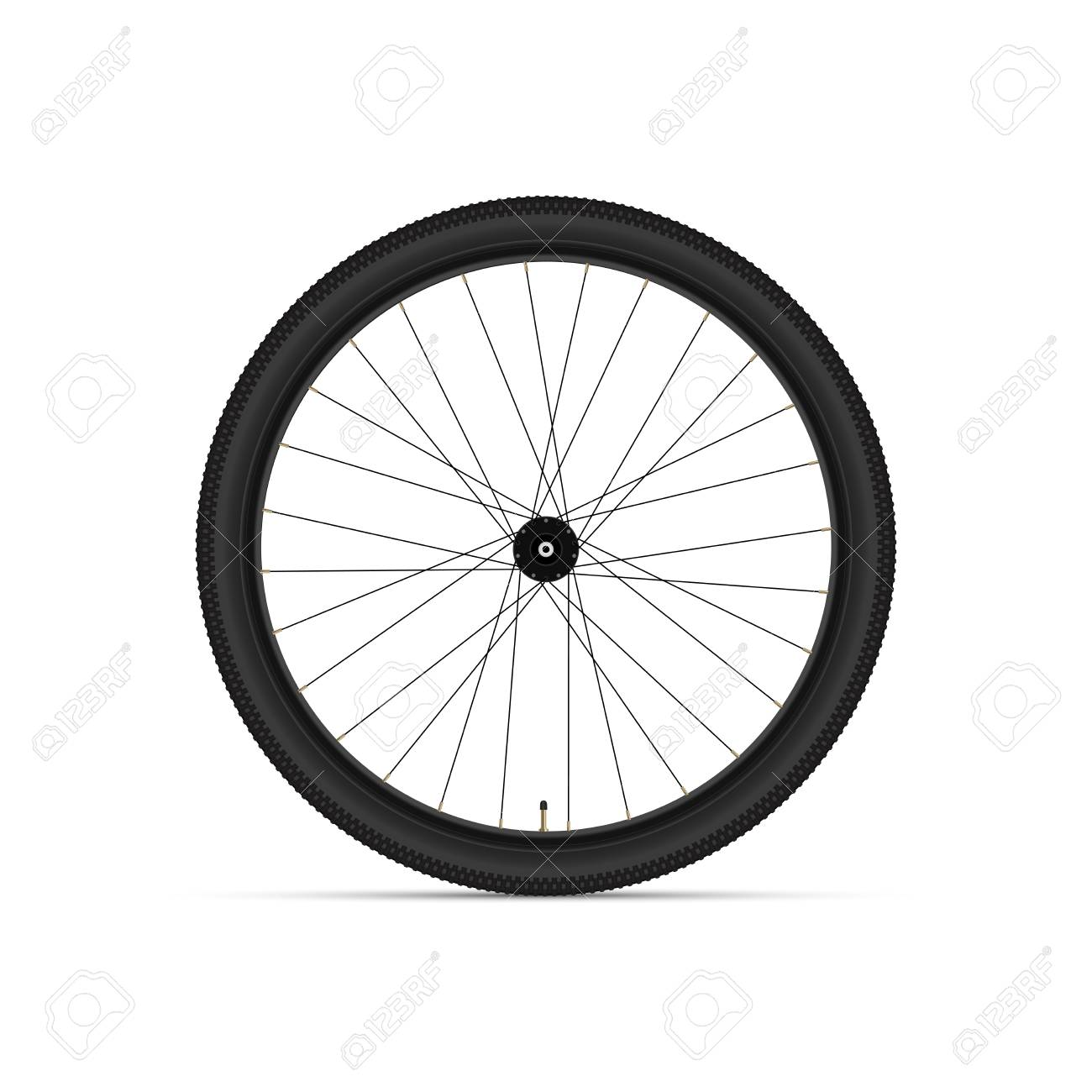 Mountain Bicycle Wheel. 3D Realistic Vector Illustration. Tire...