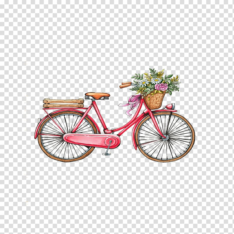 Red beach cruiser bike with flower basket , T.