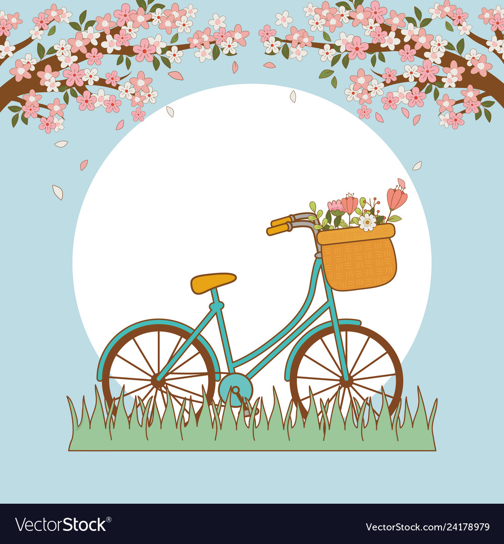 Bicycle with basket and flowers in the landscape.