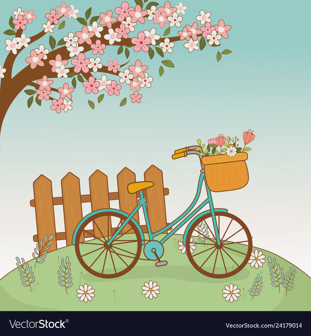 Bicycle with floral basket and fence in the.