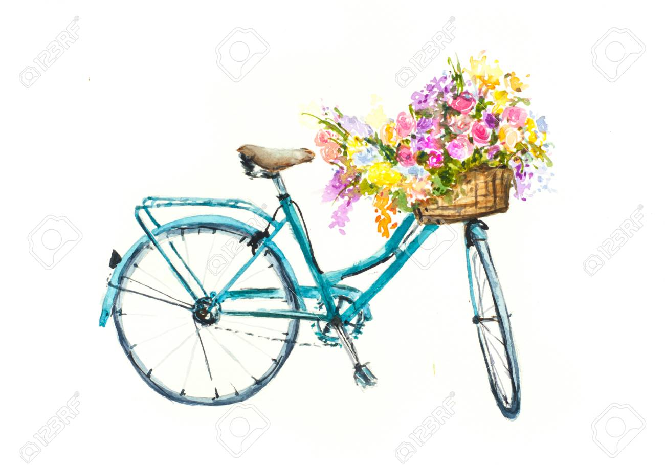 Bicycle With Flowers Clipart.