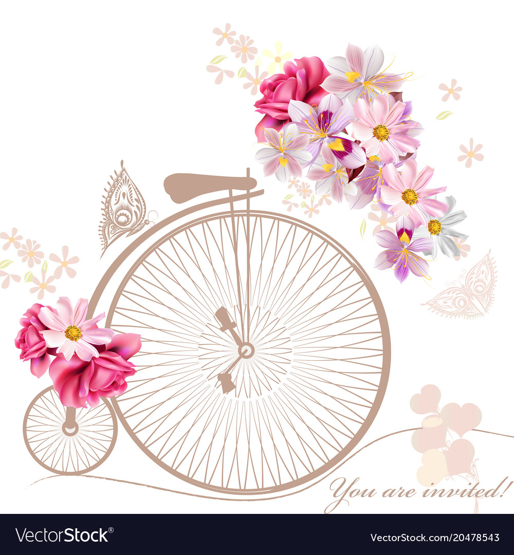 With art bicycle and flowers in vintage style.