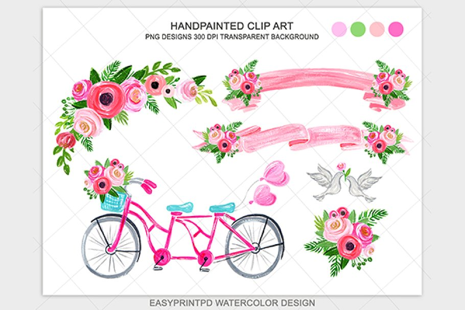 Pink wedding bicycle grapchic.