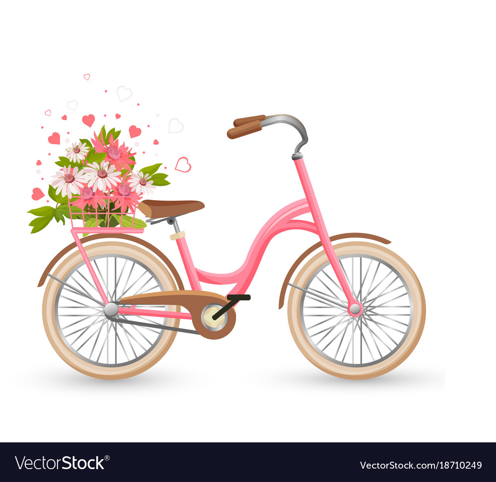 Pink bicycle with cart full of flowers and hearts.