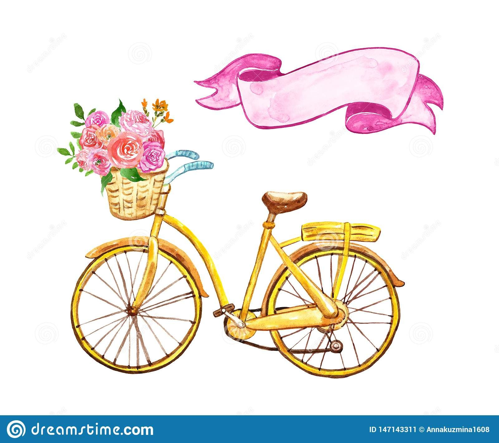 Yellow hand painted bicycle with basket and pink flowers.