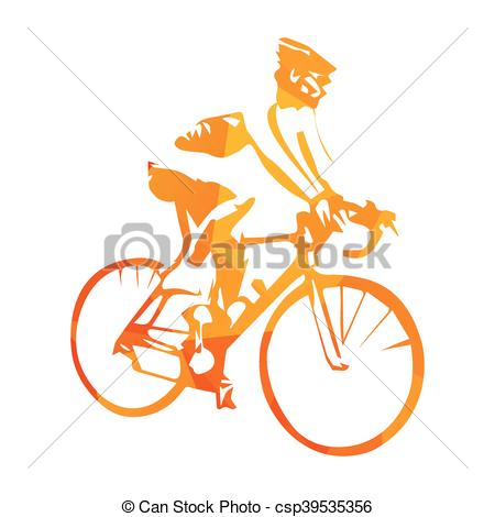 Clipart Vector of Road cycling, abstract orange vector cyclist.