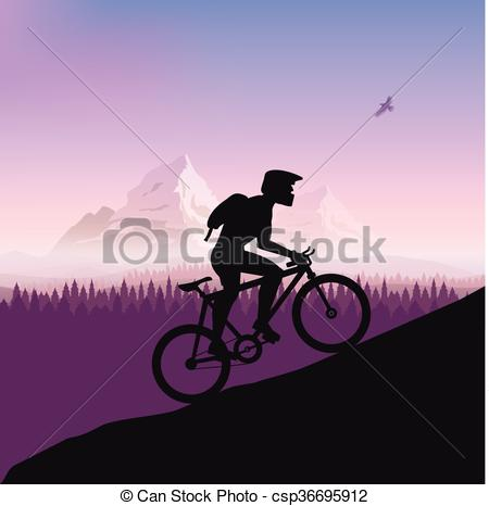Vector Clip Art of Cyclist in rough road. Bicycle racing go to the.