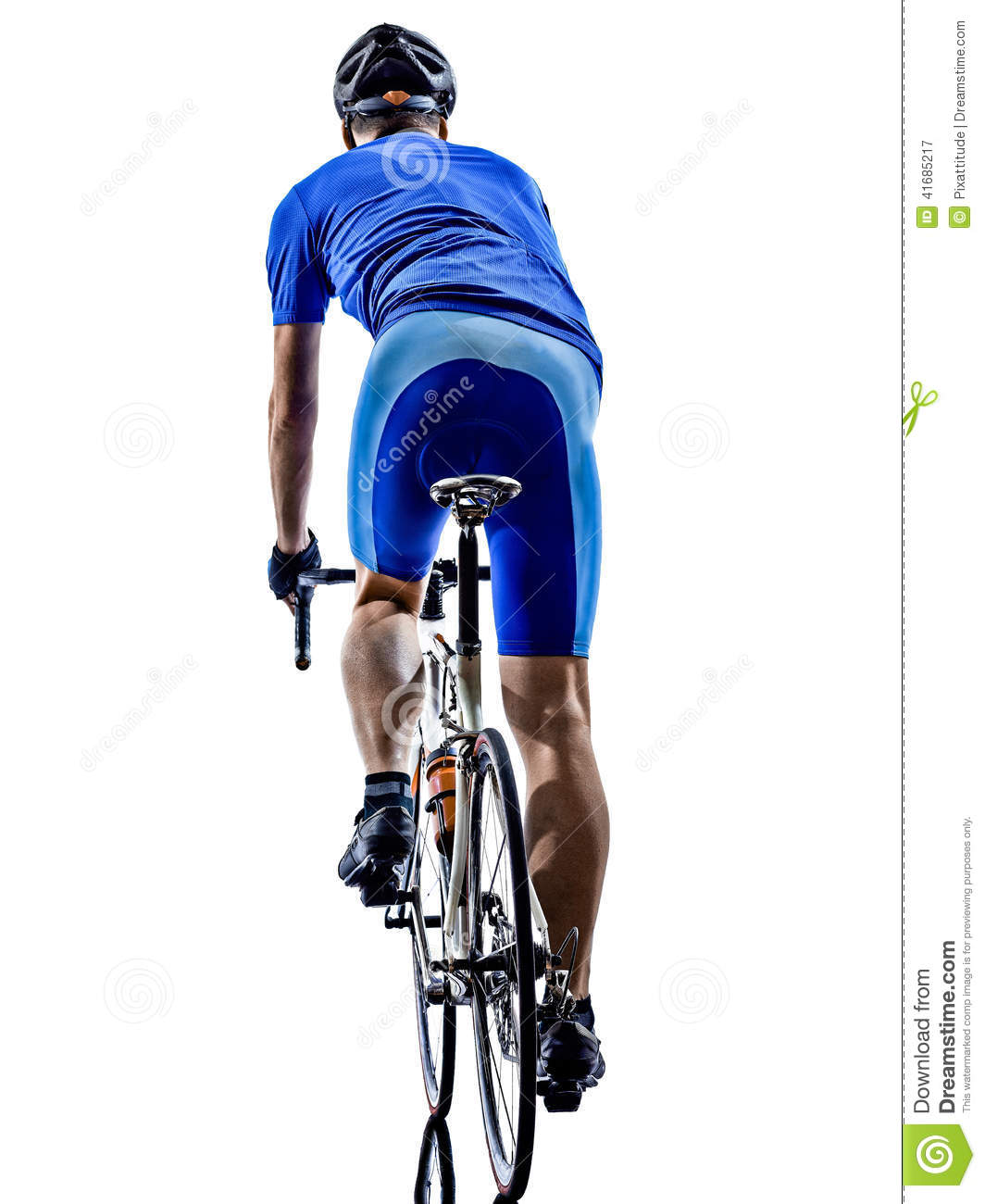 Bicyclist On A Road Clipart.