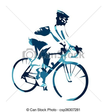 Vector of Road cycling, abstract blue vector cyclist illustration.