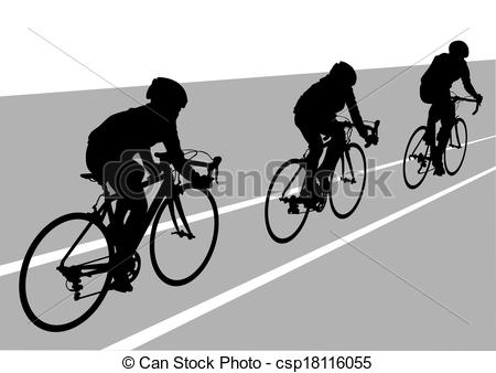 Vector Clip Art of Cyclists.