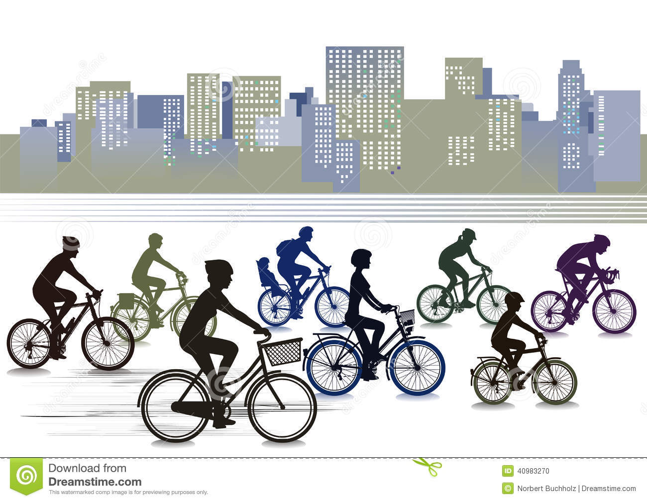 Group cycling clipart.