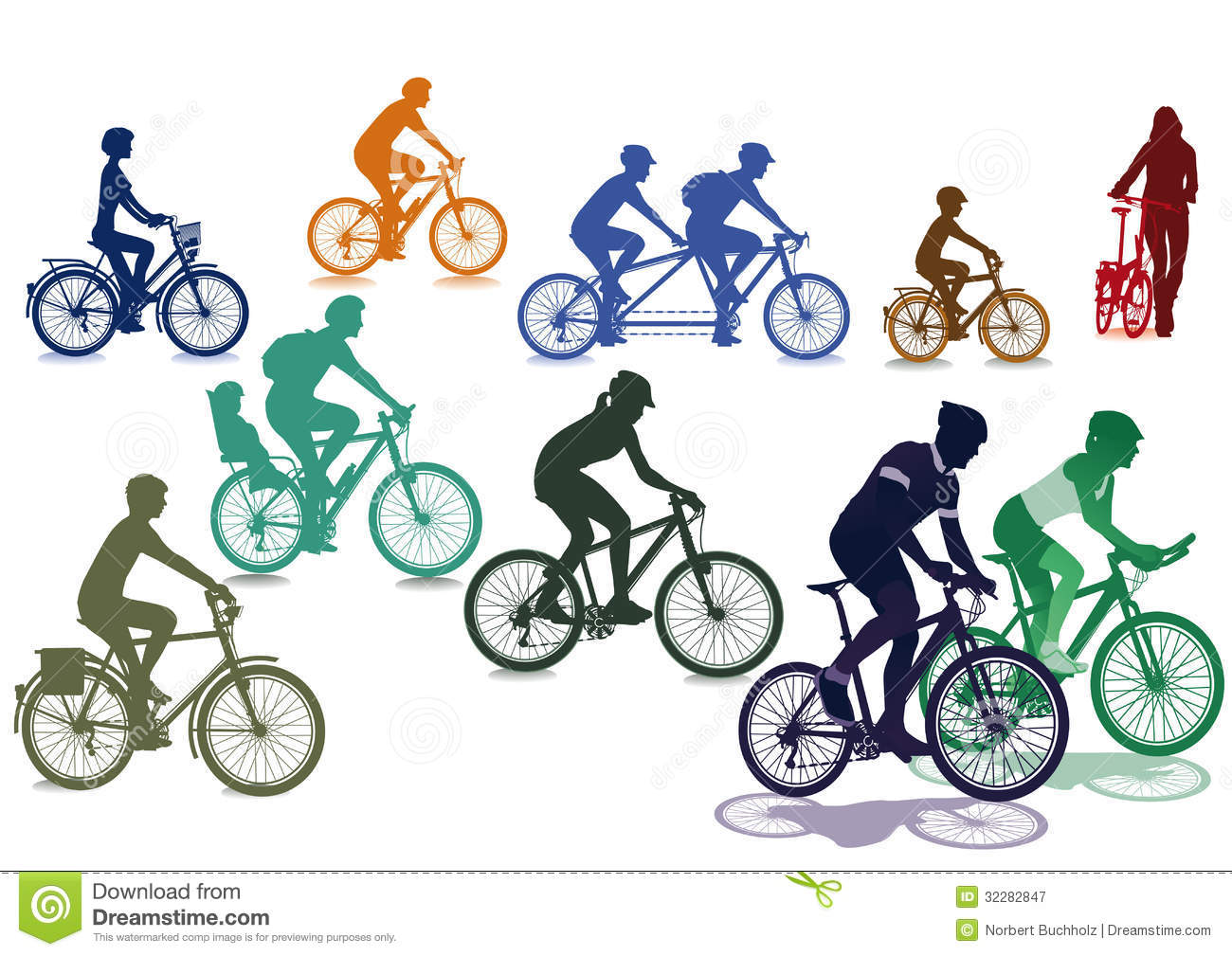 Cyclists Stock Illustrations.