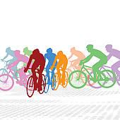 Cyclists Clip Art.
