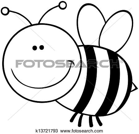 Clip Art of Outlined Happy Fly k13753807.