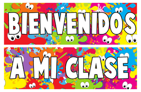 Spanish Welcome Banner BIENVENIDOS Classroom Decoration Border.