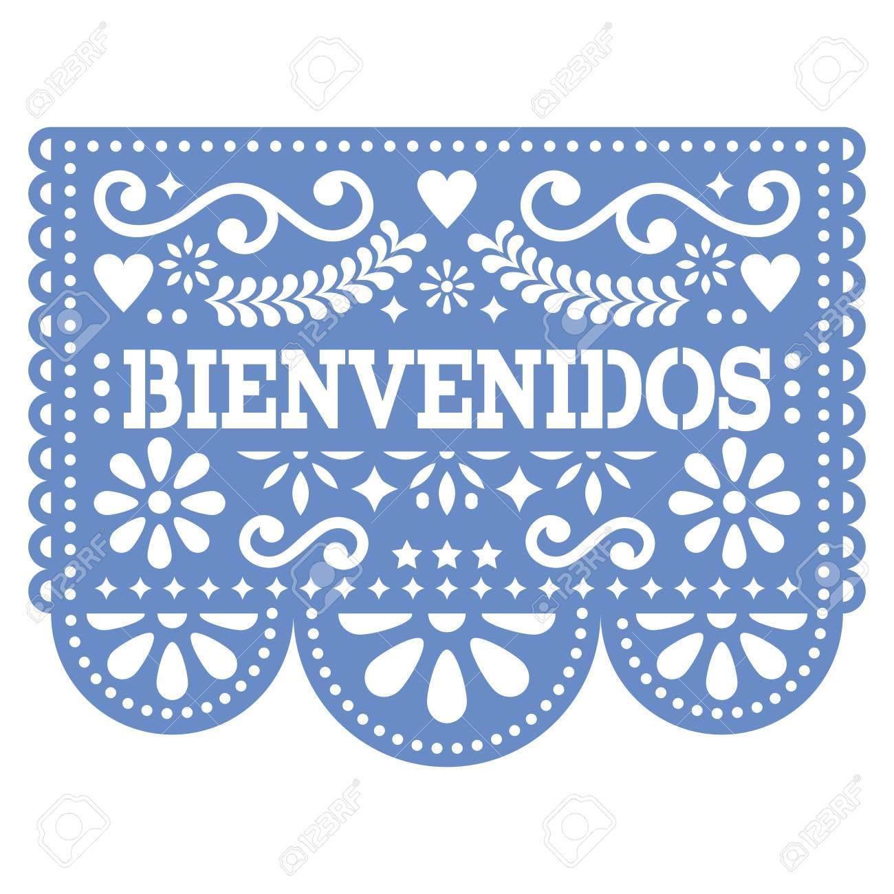 Papel Picado Bienvenidos vector design.
