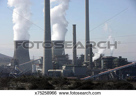 Stock Images of Endesa. Bierzo (Spain) Thermal power station of.
