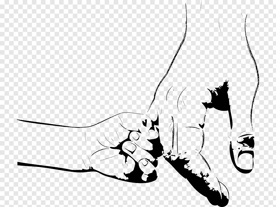 Child hand holding adult hand illustration, Fathers Day.