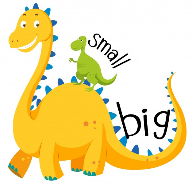 Opposite adjective big and small Vector.