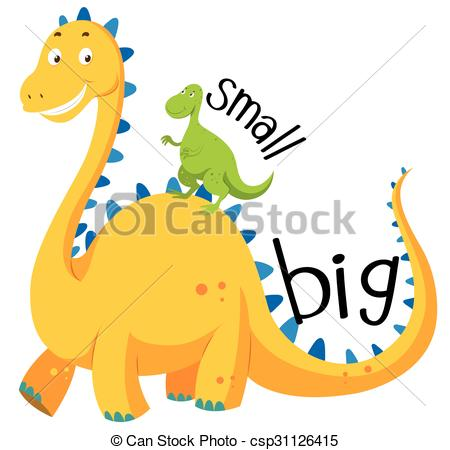 Vector Clip Art of Opposite adjective big and small illustration.