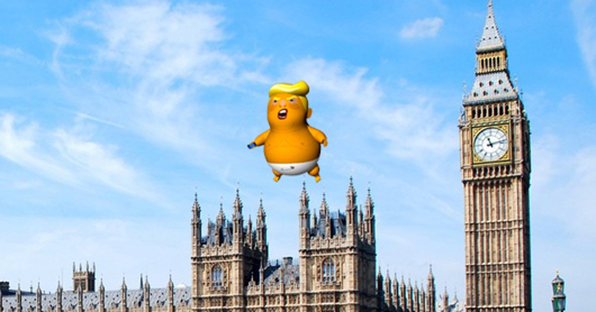 a giant baby donald trump balloon will fly over london.