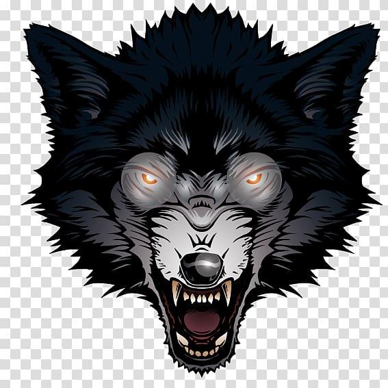 Black wolf illustration, Gray wolf Big Bad Wolf, Ferocious.