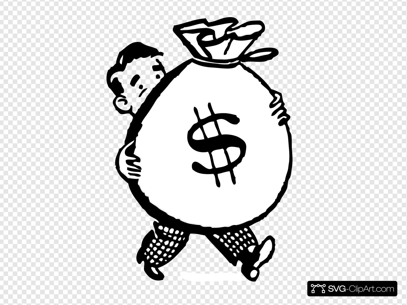 Man Carrying A Big Bag Of Money Clip art, Icon and SVG.