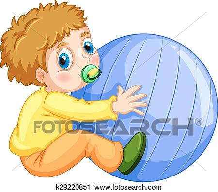 Boy and ball Clipart.