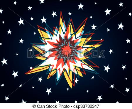 EPS Vector of Cartoon big bang or colorful explosion in space.