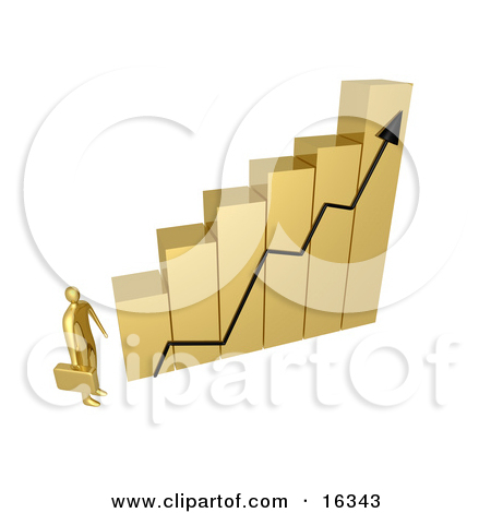 Clipart Illustration of Three Gold Business People Walking Across.