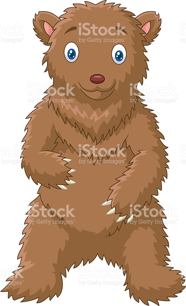 Cartoon Big Bear Standing With White Background stock vector art.