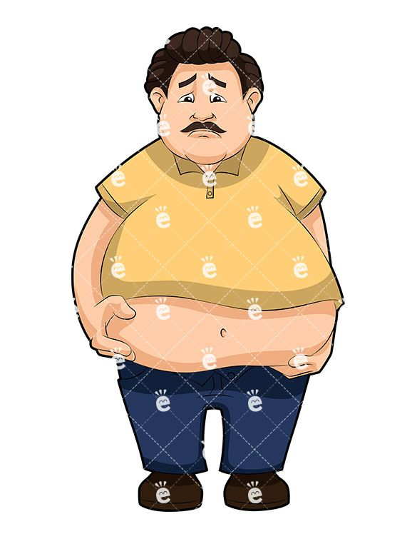 An Overweight Man Grabbing His Big Belly With Regret.