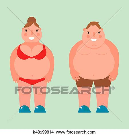 Fat woman vector flat illustration overweight body man person unhealthy big  belly character. Clipart.