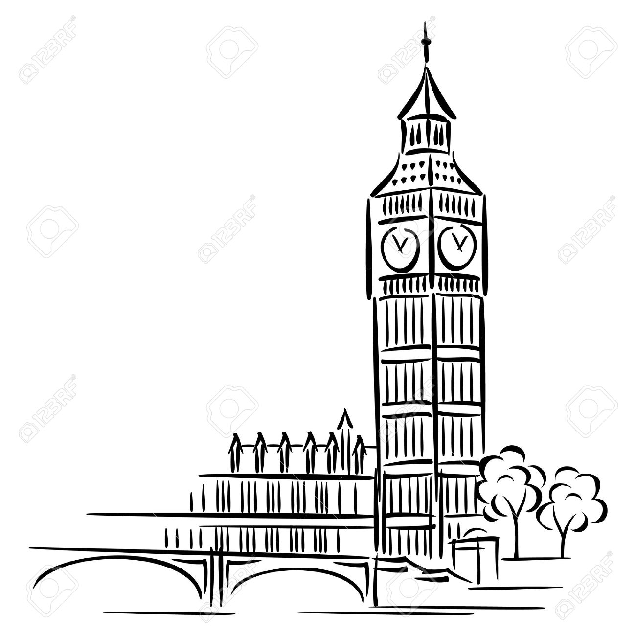 London Clock Tower Clipart.