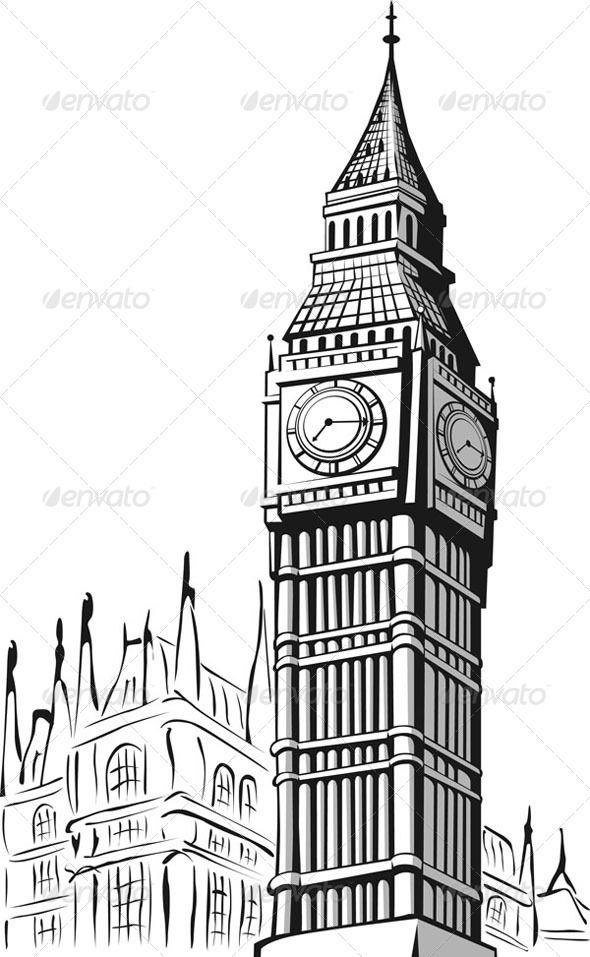 Sketch of Big Ben London.