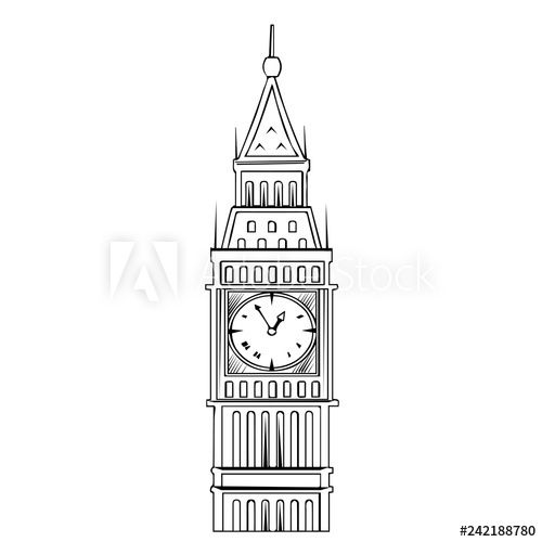Big Ben with double decker in London. Vector illustration.