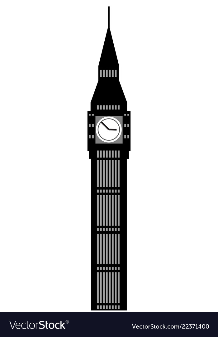 Image of cartoon big ben clock silhouette.