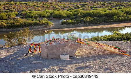 Stock Photo of Mexican Souvenirs and Rio Grande River in Big Bend.