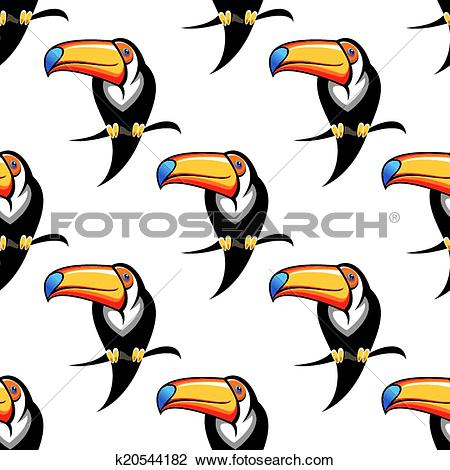 Clipart of Seamless pattern of a toucan with a big bill k20544182.