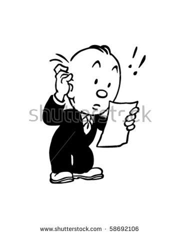 Big Bill Man Reviewing Invoice Retro Stock Vector 58692106.
