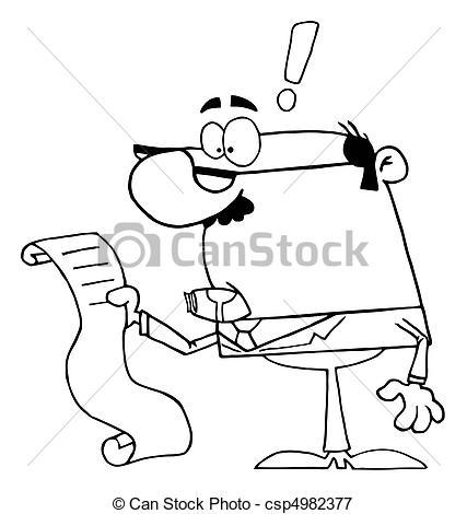 Vectors Illustration of Businessman Reviewing Big Bill.