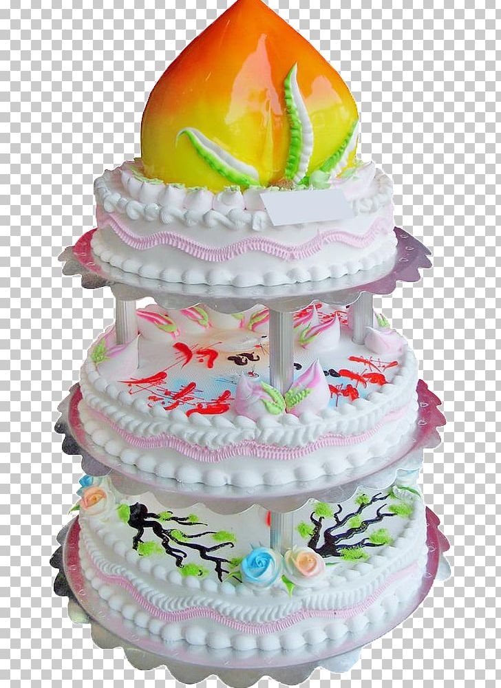 Milk Longevity Peach Birthday Cake Bakery Dobos Torte PNG.