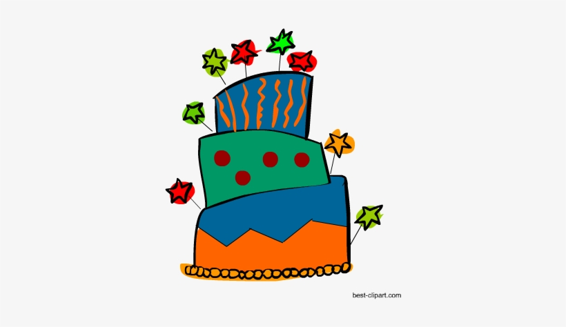 Funky Big Birthday Cake Clipart.