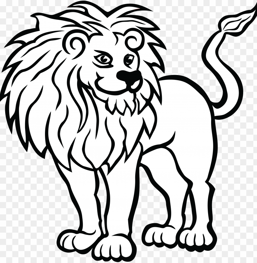 big cat vector clipart of a black and white lion head.