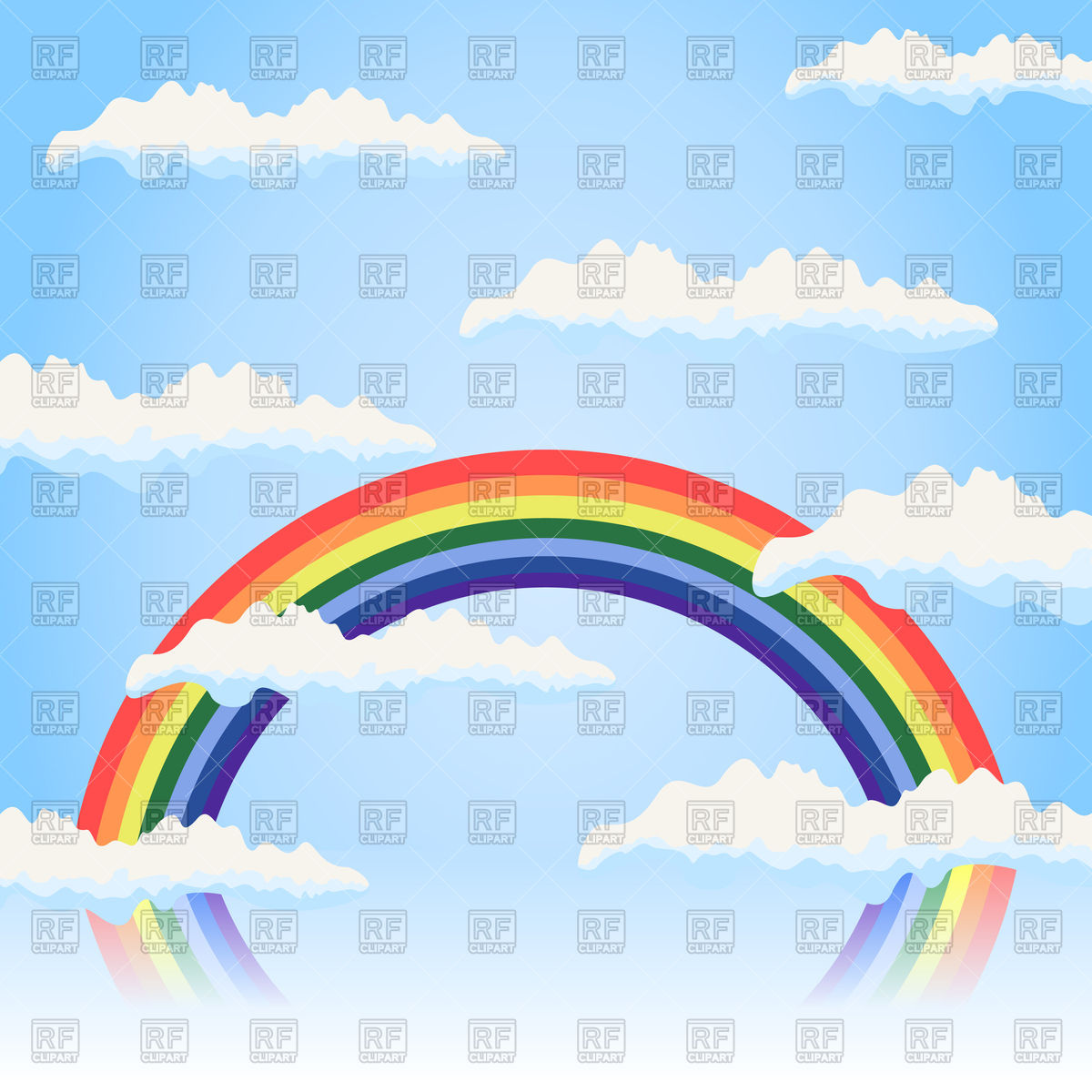 Rainbow in the blue sky Vector Image #82393.