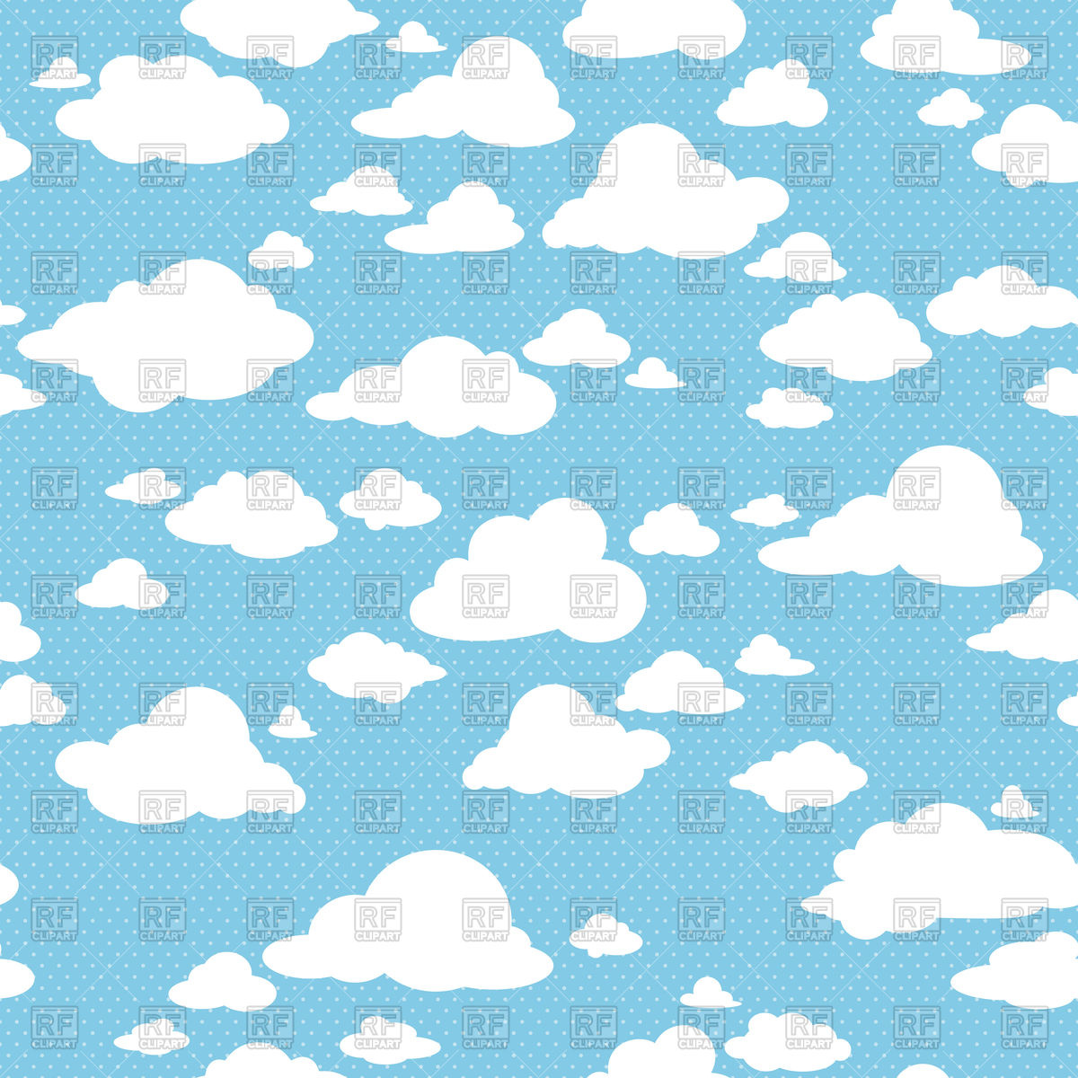 Seamless blue sky with clouds Vector Image #89955.