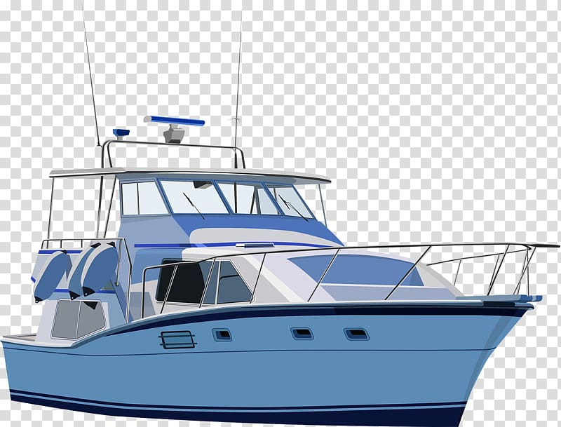 White and blue yacht against blue background, Yacht Motorboat , Big.