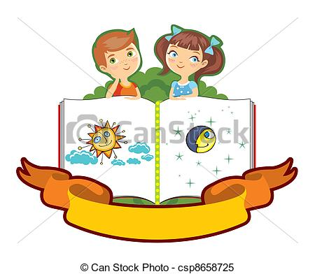 Clipart Vector of boy and the girl on the big book.