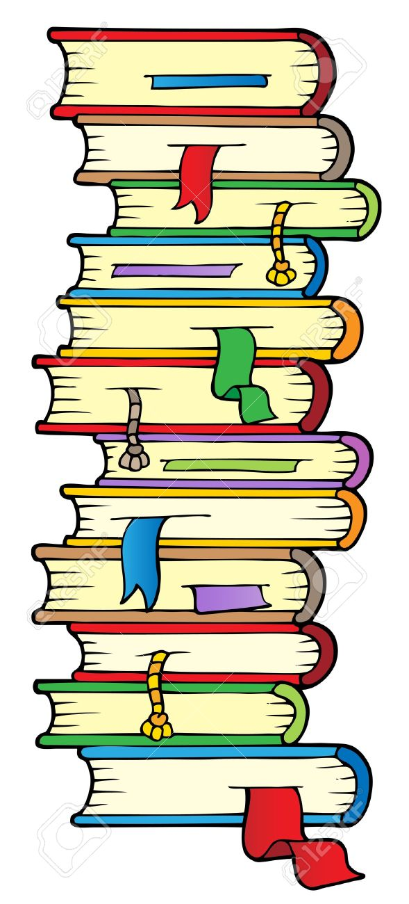 Big Column Of Books Royalty Free Cliparts, Vectors, And Stock.