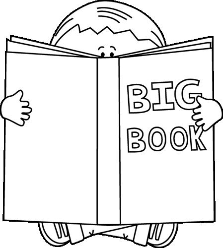 Boy Reading A Big Book Black White Book Clipart Black And White.